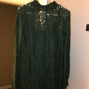 Green lace long sleeved dress